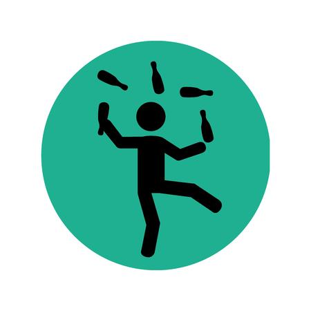 circular silhouette with circus juggler vector illustration