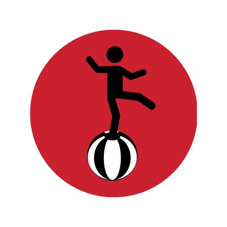 circular silhouette: circular silhouette with circus juggler over ball vector illustration Illustration