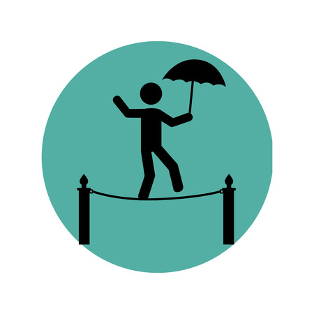 costume ball: circular silhouette with circus juggler on rope with umbrella vector illustration