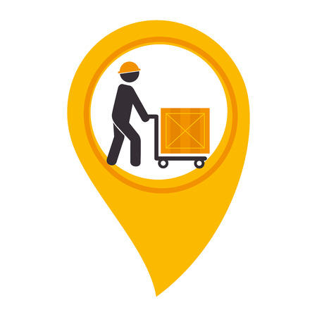 color silhouette with map pointer with man carrying package vector illustration Illustration