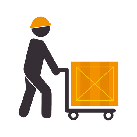 color silhouette with man and hand truck with package vector illustration