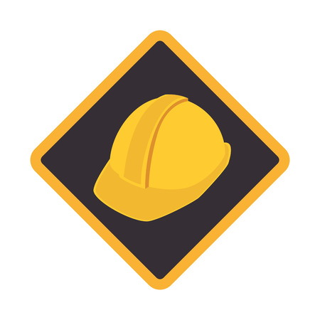 color road sign with protection helmet vector illustration