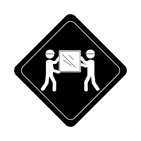 monochrome road sign pictogram with men carrying package vector illustration Иллюстрация