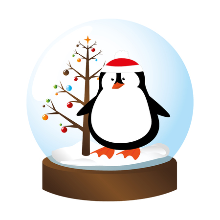 crystal sphere with christmas tree and penguin inside vector illustration