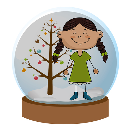 crystal sphere with christmas tree and girl with braided hair inside vector illustration