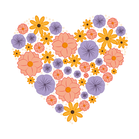 heart love with flowers card icon vector illustration design