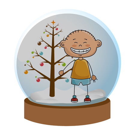 crystal sphere with christmas tree and boy inside vector illustration Illustration