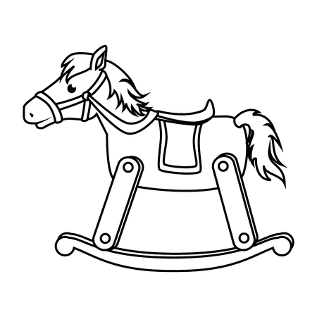 wooden horse: horse wooden baby toy icon vector illustration design Illustration