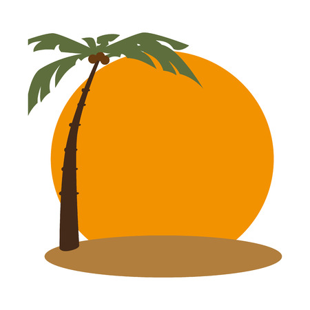 beach with palm frame vector illustration design