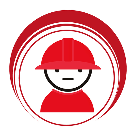 emergency stair: red circle frame with firefighter vector illustration Stock Photo