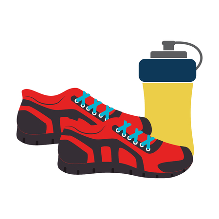 colorful silhouette with sport shoes and drink bottle vector illustration