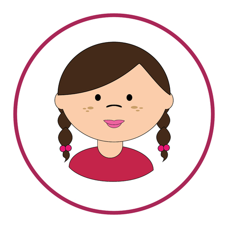 braided: round silhouette with girl face with braided hair vector illustration