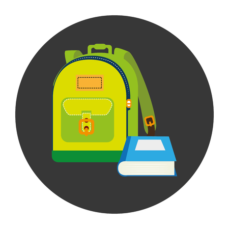 article writing: colorful silhouette with school briefcase and book in circular frame vector illustration Illustration