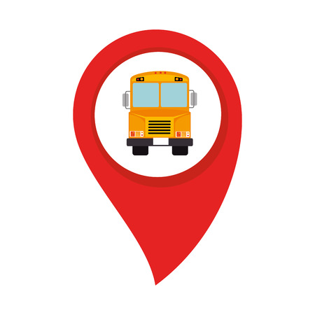 schoolbus: map pointer with circle interior with school bus vector illustration Illustration