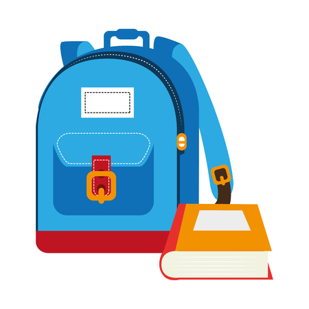 article writing: colorful silhouette with school briefcase and book vector illustration