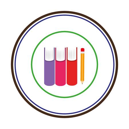 silueta de color con libros y lápiz en marco circular ilustración vectorial Vectores