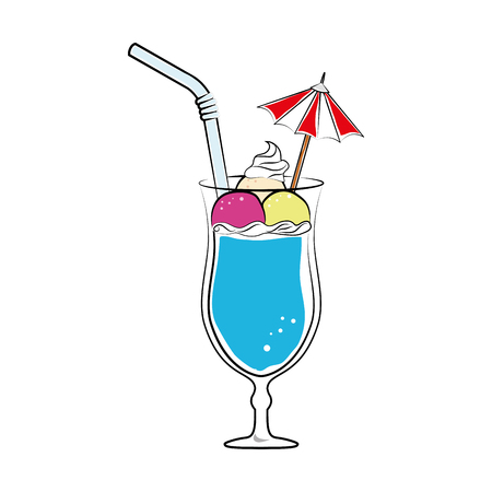 silhouette color with cocktail drink with fruits and straw and decorative umbrella vector illustration