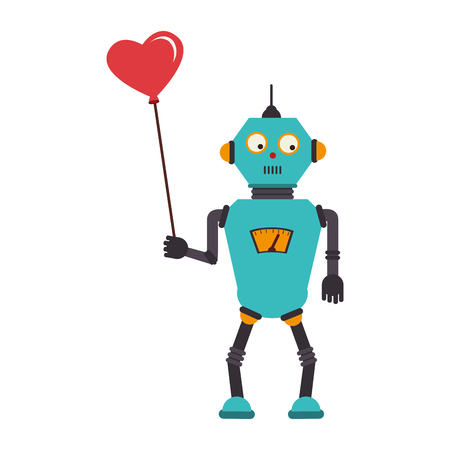colorful silhouette with robot with balloon in shape of heart vector illustration Illustration