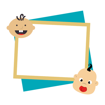 color frame with border with babys faces vector illustration Illustration