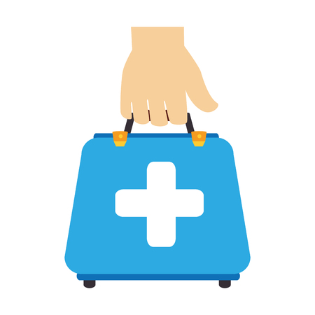 firstaid: colorful silhouette with hand holding first aid box vector illustration