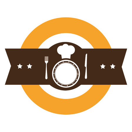 color silhouette with kitchen with chefs hat and dish and cutlery vector illustration