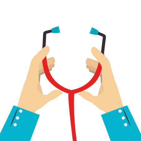 colorful silhouette of hands with stethoscope vector illustration Banco de Imagens - 71311767