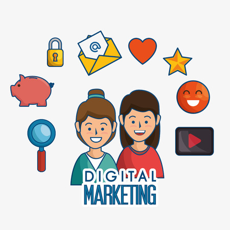 digital marketing: digital marketing flat icons vector illustration design Illustration