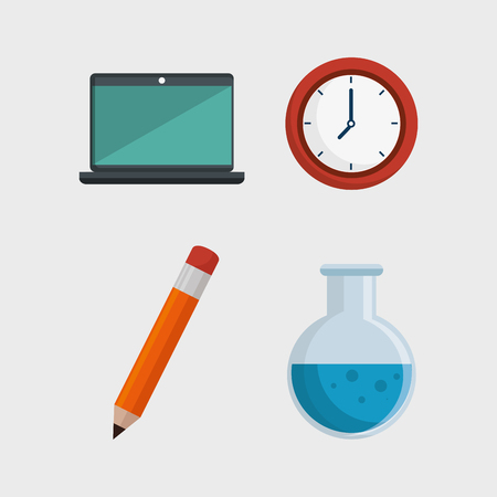 education online flat icons vector illustration design
