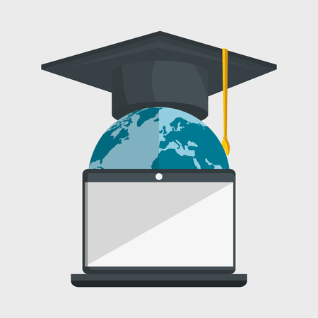 online education: education online flat icons vector illustration design