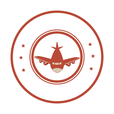 airplane stamp isolated icon vector illustration design