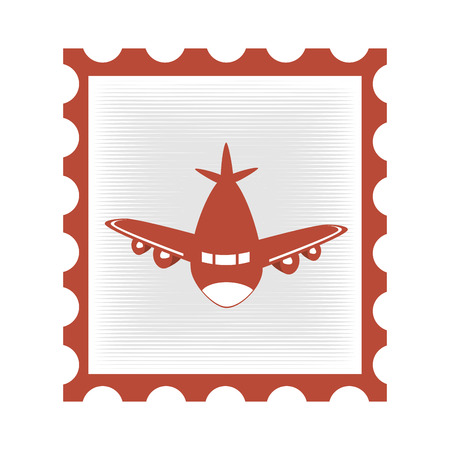 airmail stamp: airplane stamp isolated icon vector illustration design