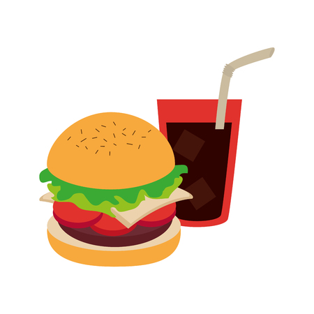 hamburguer with coke soda with straw vector illustration
