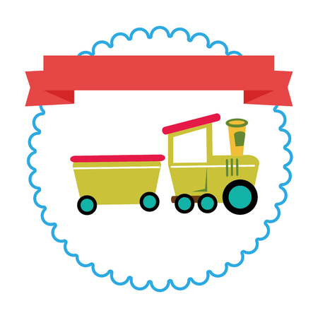 border with label and train toy vector illustration