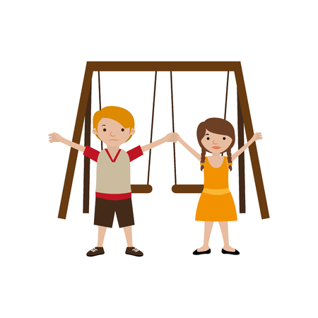 chain swing ride: Park with swings and children vector illustration Illustration