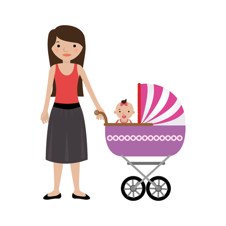 niño empujando: woman with little girl in baby carriage vector illustration Vectores