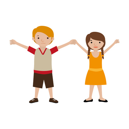 couple of kids togheter in casual clothes vector illustration Illustration