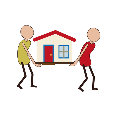 people carrying a toy house vector illustration