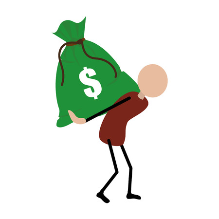 people carrying a bag with dollar symbol vector illustration