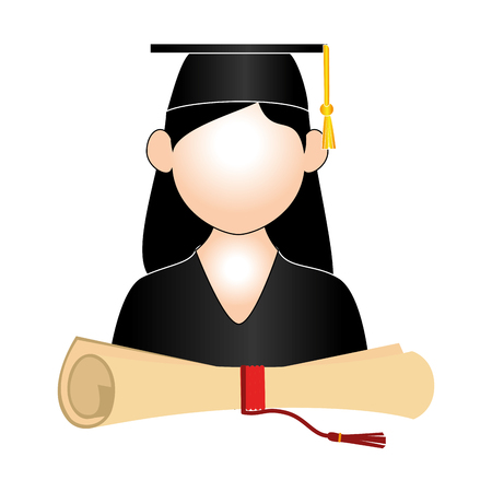 half body woman graduate outfit and certificate of graduation vector illustration Illustration