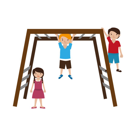 rail yard: colorful playground with stair rail and kids vector illustration