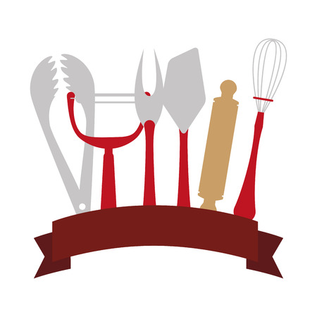 label with utensils kitchen and bakery vector illustration