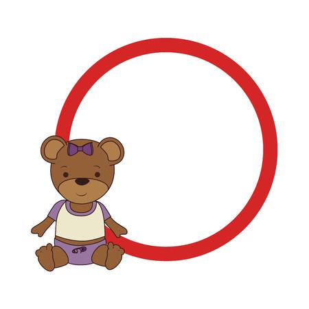 circular border with teddy bear vector illustration