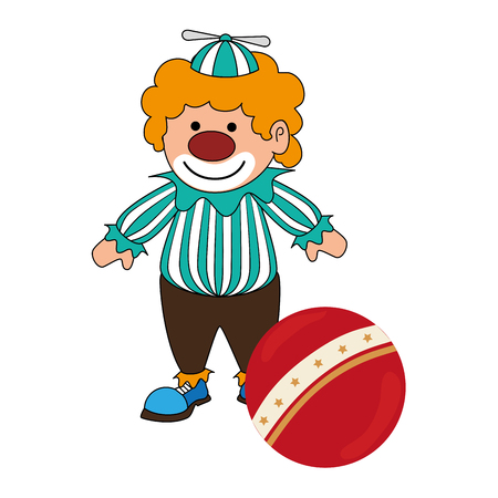 colorida silueta con payaso con bola de colores ilustración vectorial