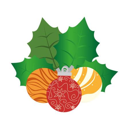 floral decoration: happy merry christmas floral decoration card vector illustration design Illustration