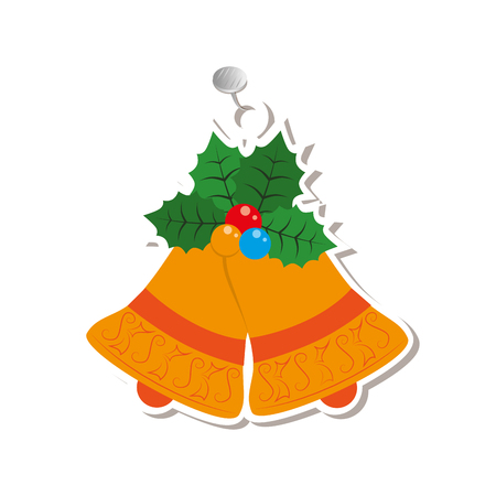 happy merry christmas bell card vector illustration design