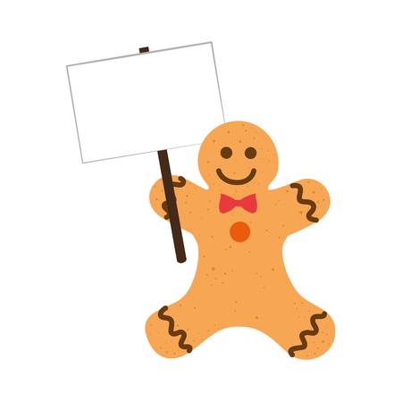 galleta de jengibre: happy merry christmas ginger cookie card vector illustration design Vectores