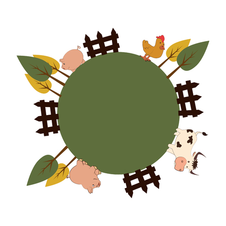 animal farm in field vector illustration design