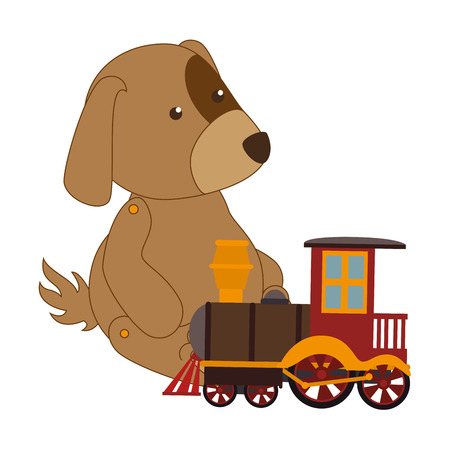 colorful dog with train toy vector illustration