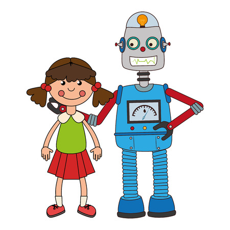 colorful set collection robot with doll toy
