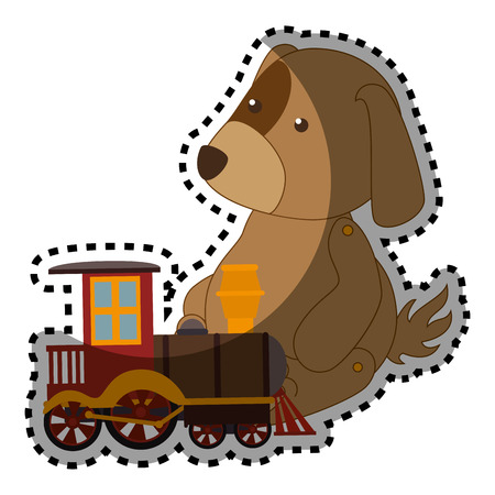 sticker colorful dog with train toy vector illustration